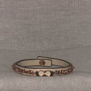 Rose Coach leather and rose gold chain bracelet